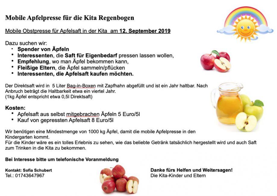 Apfelpresse im Kindergarten am 12. September 2019
